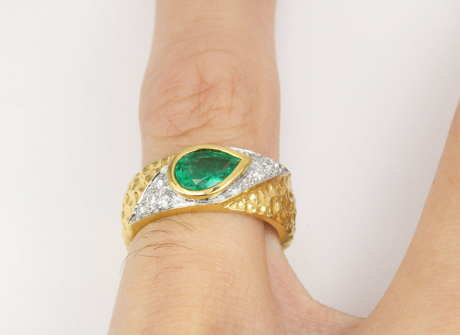 1.19tcw Vivid Green Tear Drop Emerald & Diamond Ring 18K