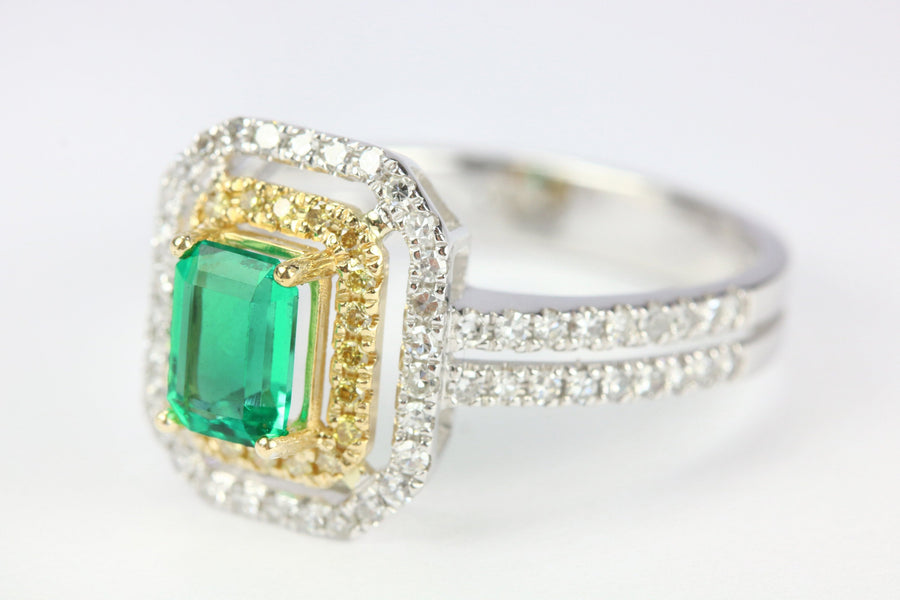 1.41tcw 14K Two-Toned Colombian Emerald Ring, Fancy Yellow Diamond Ring, Everyday Emerald Ring, Emerald Ring, May Birthstone Ring
