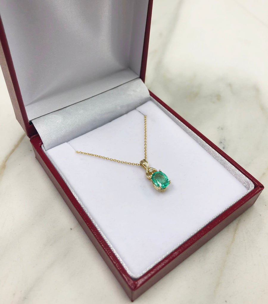 1.43 Carats Yellow OR White Solid Gold Natural Emerald Oval Accented Diamond Pendant 14K Genuine Emerald Gold Emerald Necklace