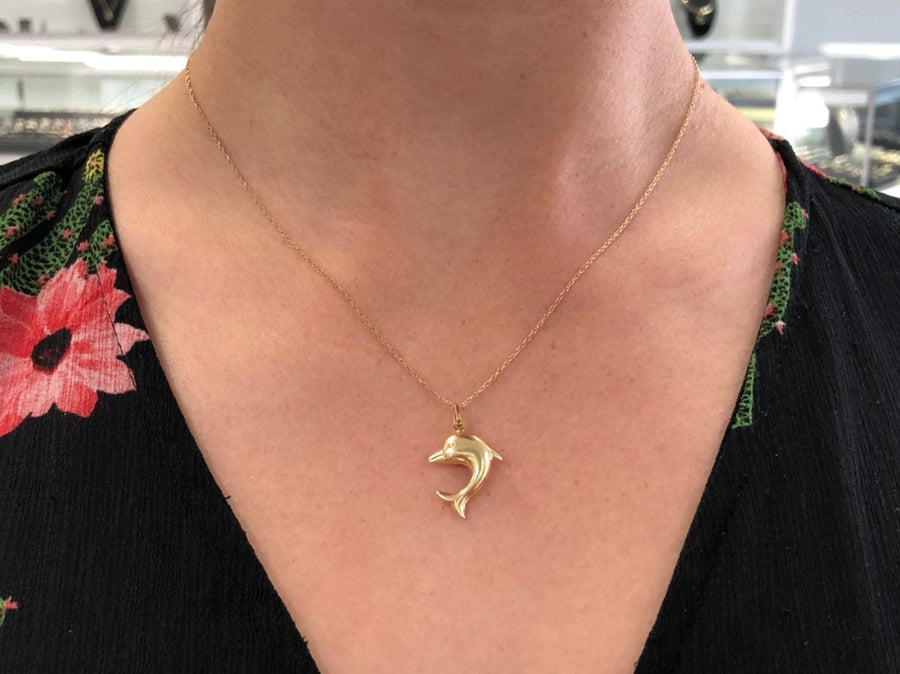 Yellow Gold Dolphin Pendant, 14K Gold Dolphin Pendant, Gold Dolphin Charm, Nautical Charm Gift, Gold Dolphin Pendant