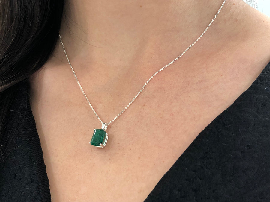 3.53 Carats Dark Green Emerald Necklace Sterling Silver 925