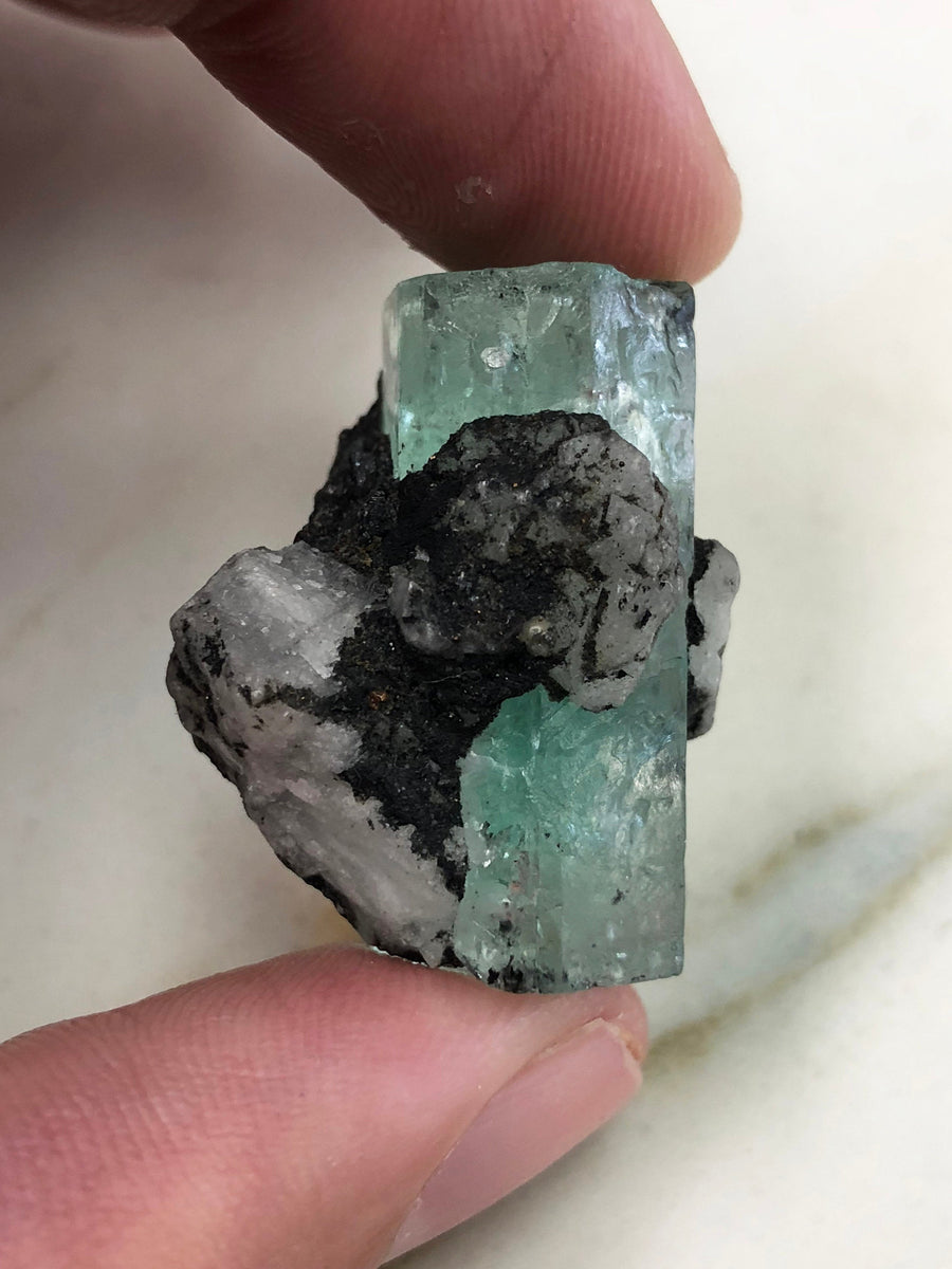 70.78 Carats Natural Terminated Rough Colombian Emerald Crystal in Matrix