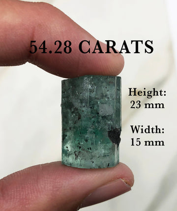 54.28 Carats Loose Natural Terminated Colombian Emerald Crystal, Double Terminated Rough Colombian Emerald, Termination Collectors Rough Gem