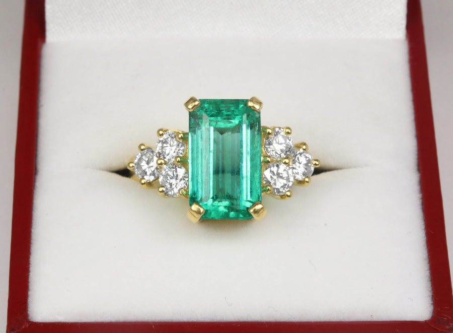 4.20 TCW Elongated Emerald cut Natural Rich Green Colombian emerald and white brilliant diamond handmade engagement ring 18K Yellow Gold