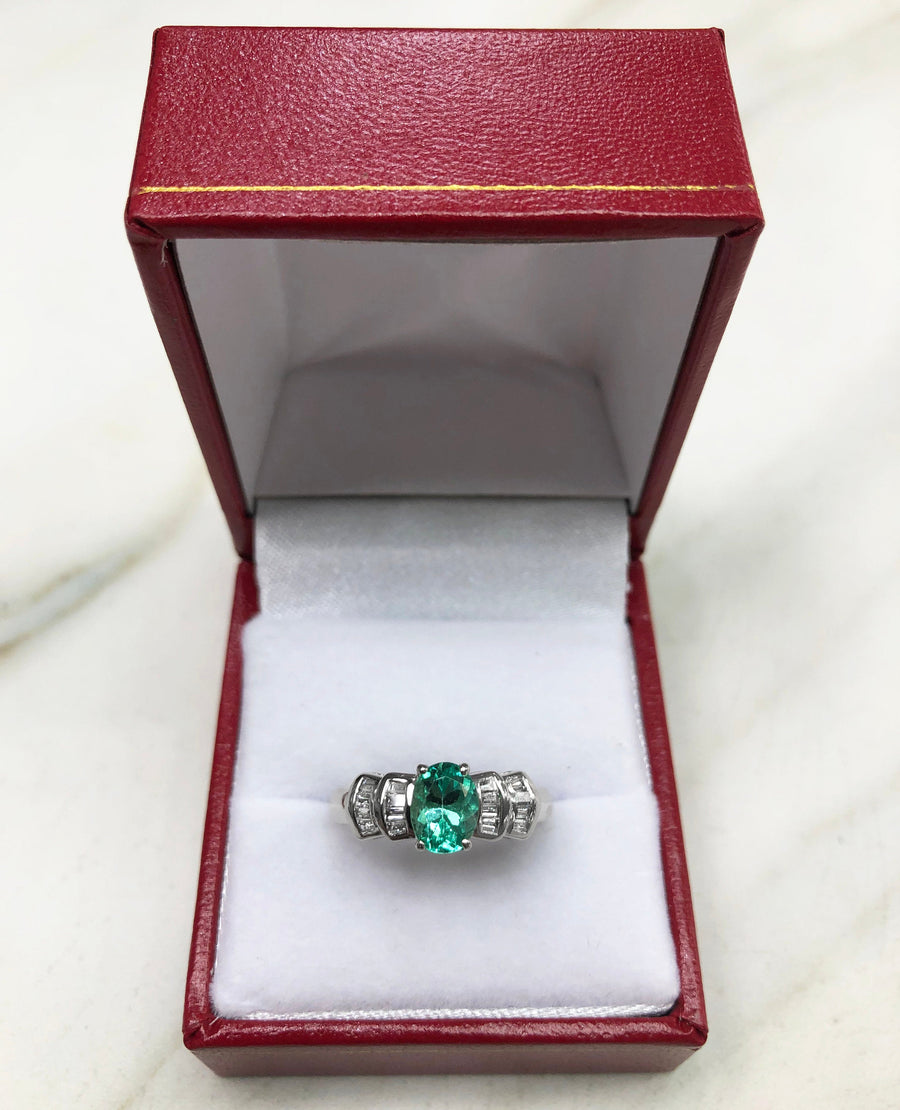 1.84 Carats Oval Emerald & Diamond Right Hand Ring, Emerald Ring, Emerald Ring, White Gold Emerald Ring, Emerald Anniversary Ring 14K