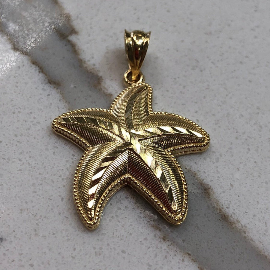 Filigree Starfish 14k, 14K Yellow Gold Starfish, Gold Star Fish Pendant, Gold Starfish Necklace, Starfish Pendant,Starfish Jewelry,Gift idea
