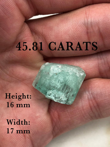 45.81 Carats Loose Natural Terminated Colombian Emerald Crystal, Single Terminated Rough Colombian Emerald, Termination Collectors Rough Gem