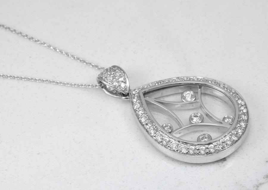 0.60pts Diamond Anniversary Necklace, Diamond & Camphor Glass Pendant, Diamond Pendant,  Diamond Pear Shaped Necklace, White Gold 18k