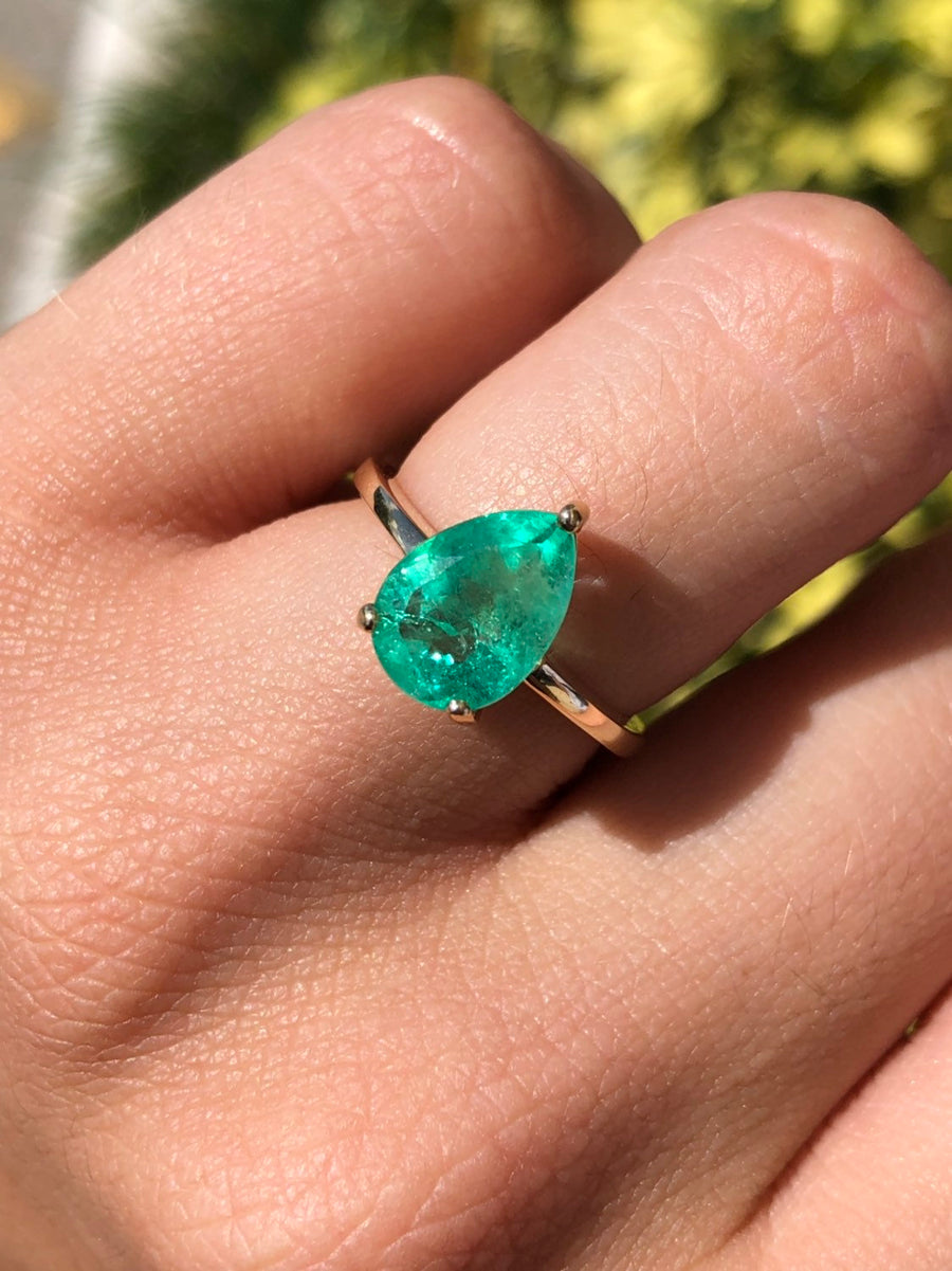 2.54 Carats Solitaire Colombian Emerald Pear Cut Engagement Ring, Natural Drop Shape Emerald Wedding Ring, Transparent Pear Emerald Ring 14K