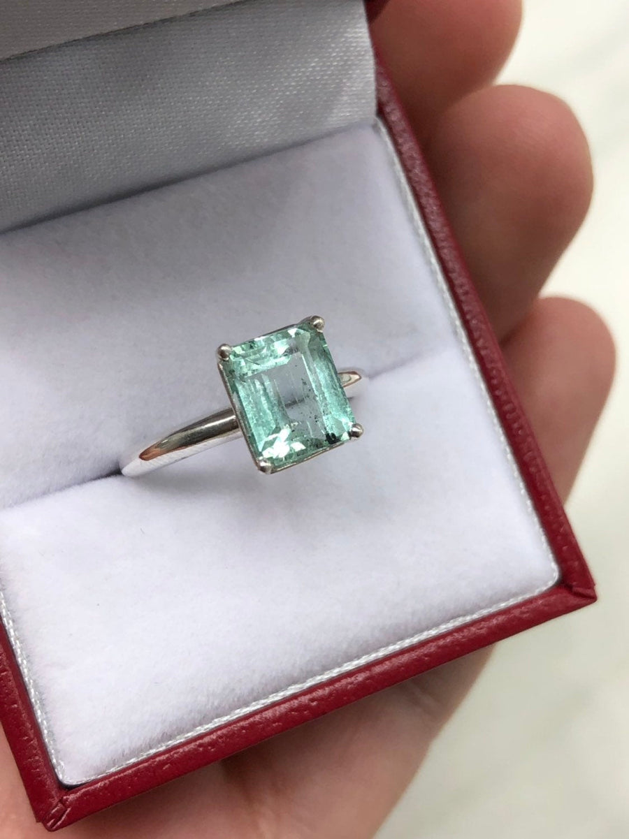 2.70 Carat Emerald Cut Colombian Emerald Solitaire Silver Engagement Ring