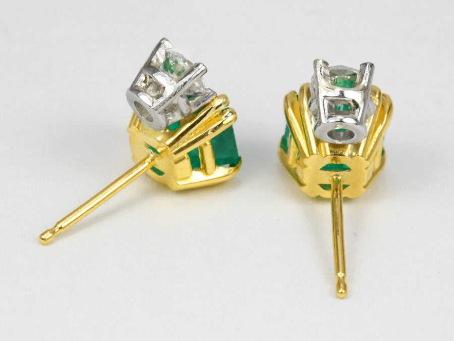 2.75tcw Emerald & Diamond Accent Stud Earrings 18K/PLAT