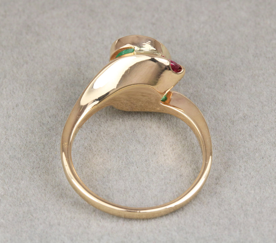 2.25tcw Oval Emerald & Ruby Accent Three Stone Ring 14K