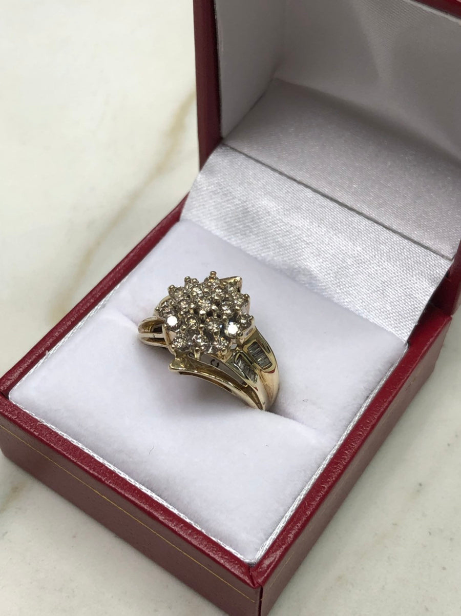 1.10tcw Cluster Diamond Ring Yellow Gold 10K