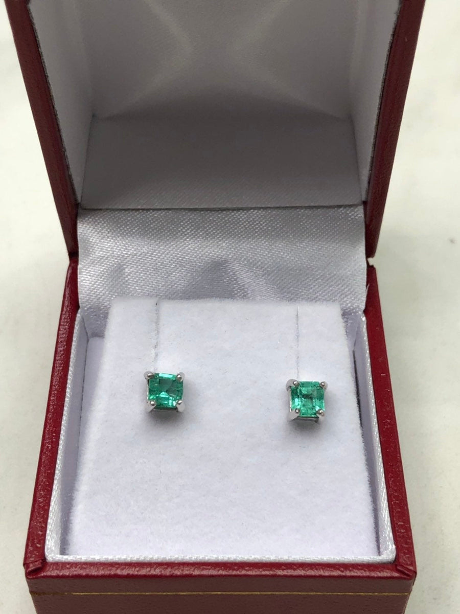 1.0tcw Emerald Earrings, Colombian Emerald Stud Earrings,Emerald Cut Emerald 14K Studs,May Birthstone,Natural Emerald Cut Studs