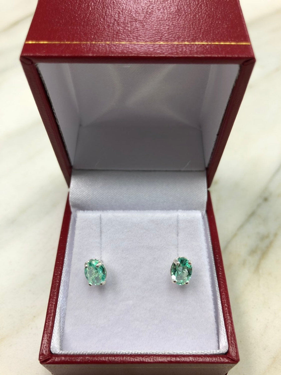 1.01 Carats Martini Emerald Earrings, Colombian Emerald Stud Earrings, Oval Emerald Sterling Silver Studs, May Birthstone, Oval Cut Studs