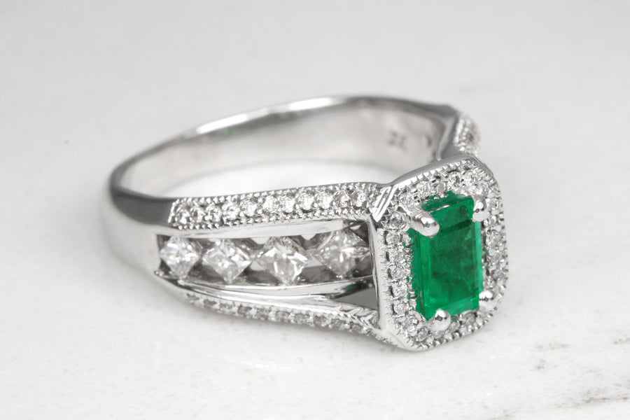 2.22tcw Emerald Cut Colombian Emerald Gold Engagement Ring, Emerald Right Hand Ring, Emerald & Diamond White Gold Ring, Emerald 14K Ring