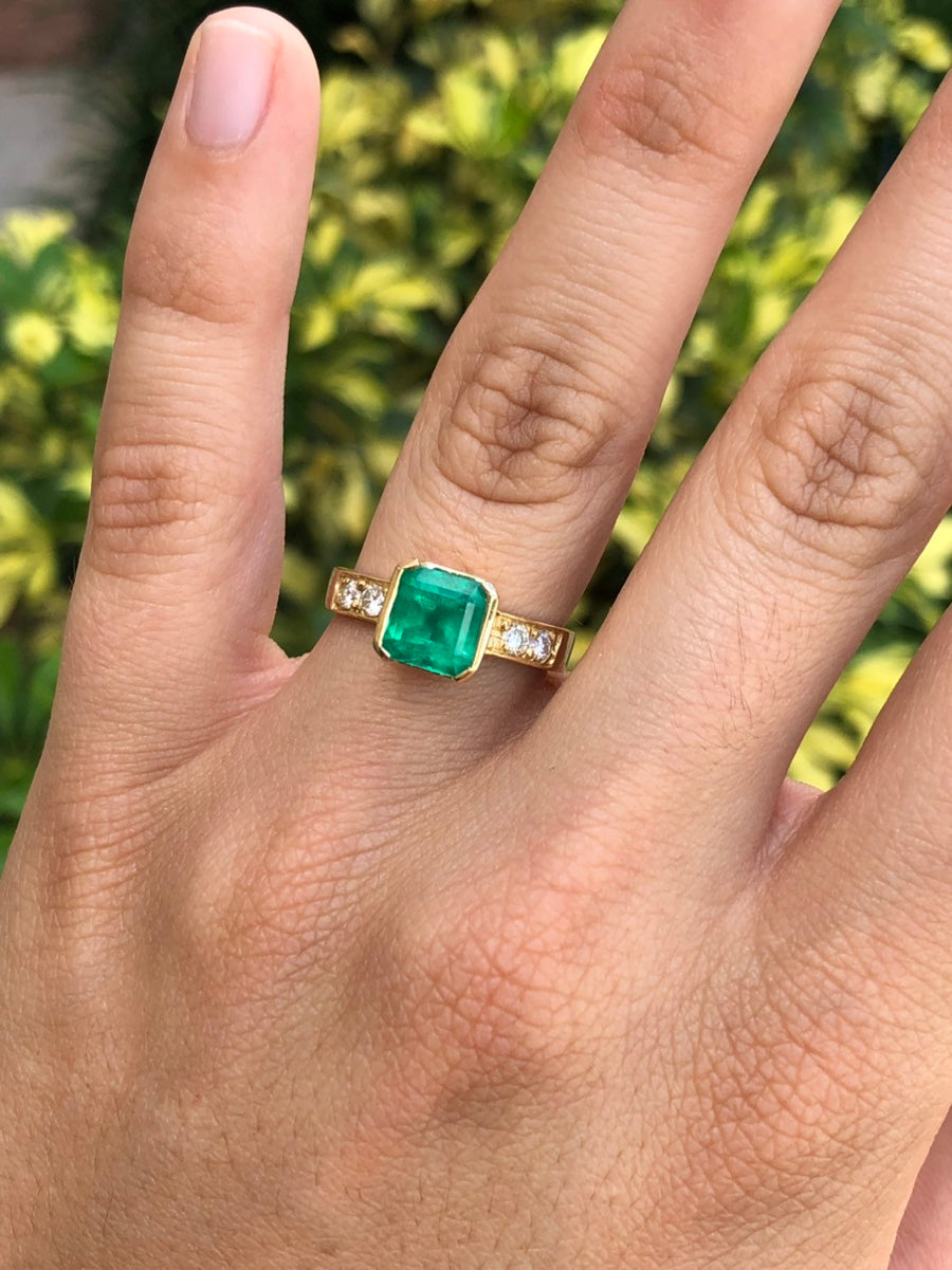 2.75tcw Emerald & Diamond Solitaire With Accents Ring 18K
