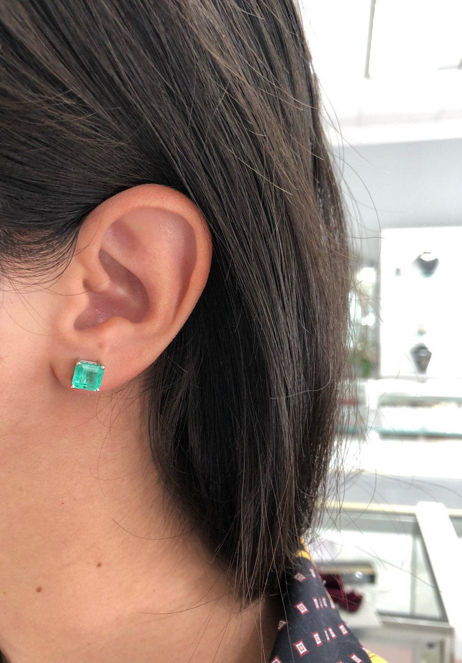 3.72tcw Square Colombian Emerald Solitaire Stud Earrings White Gold 14K