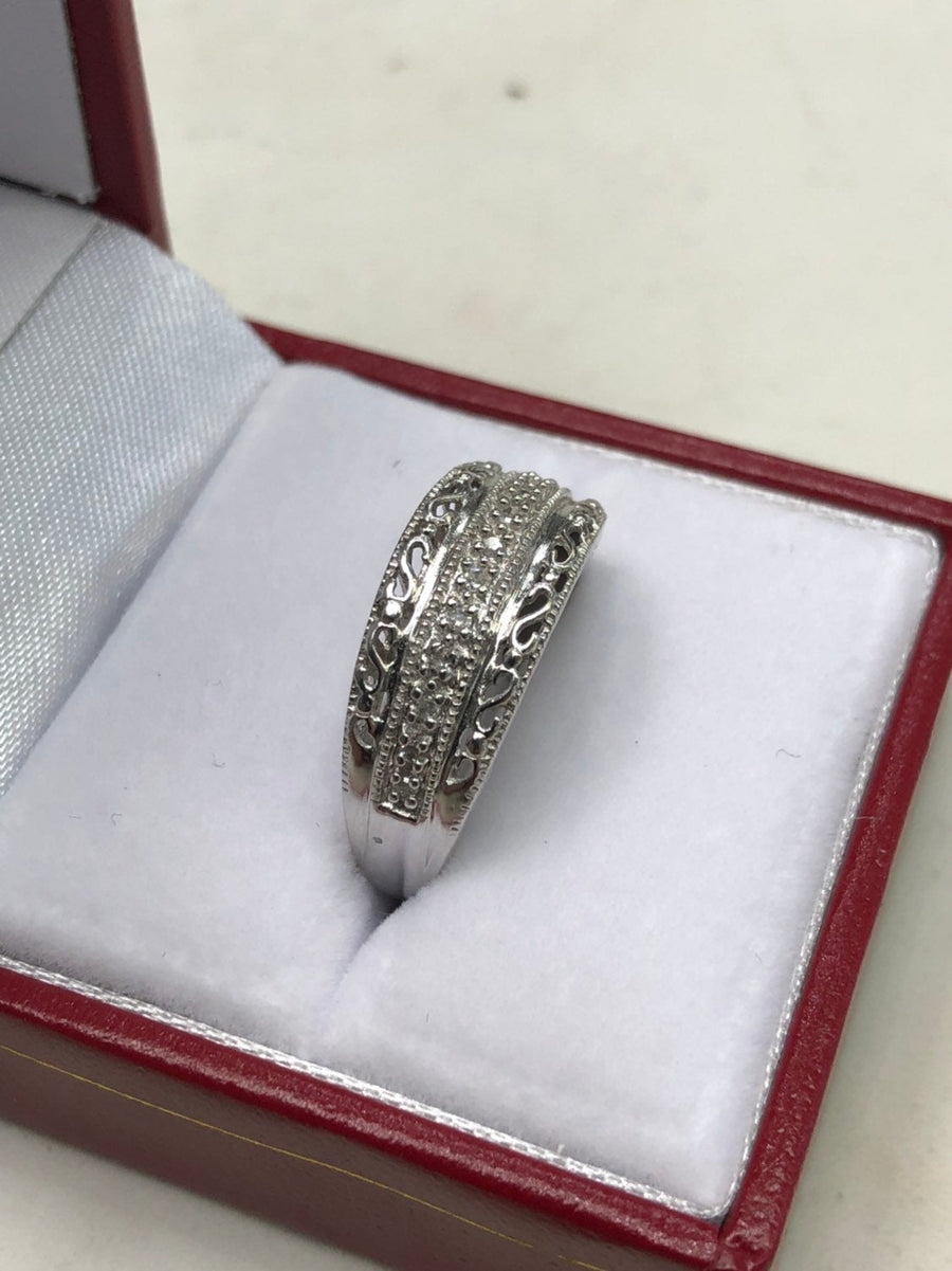 MOM Diamond Ring White Gold 10K