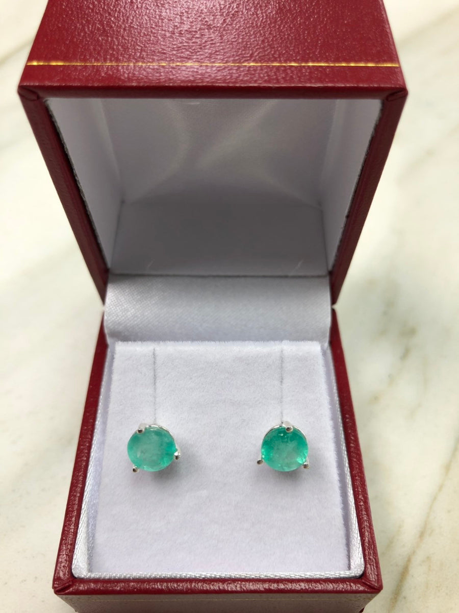 2.10 Carats Martini Emerald Earrings,Colombian Emerald Stud Earrings Round Cut,Sterling Silver Emerald Earrings, Emerald Studs,6.5mm Studs