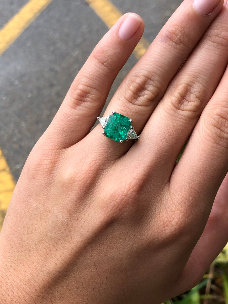 5.66tcw Three Stone Emerald & Diamond Trillion 18K Ring