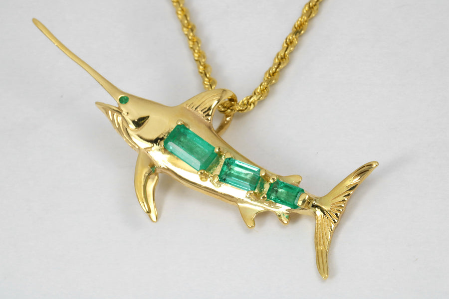 Colombian Emerald Sword Fish Gold Pendant 14K