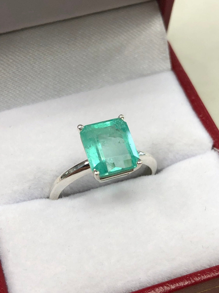 2.80 Carats Colombian Emerald Solitaire Silver Engagement Ring, Emerald Engagement Ring, Emerald Cut Emerald Silver Ring, Silver Ring