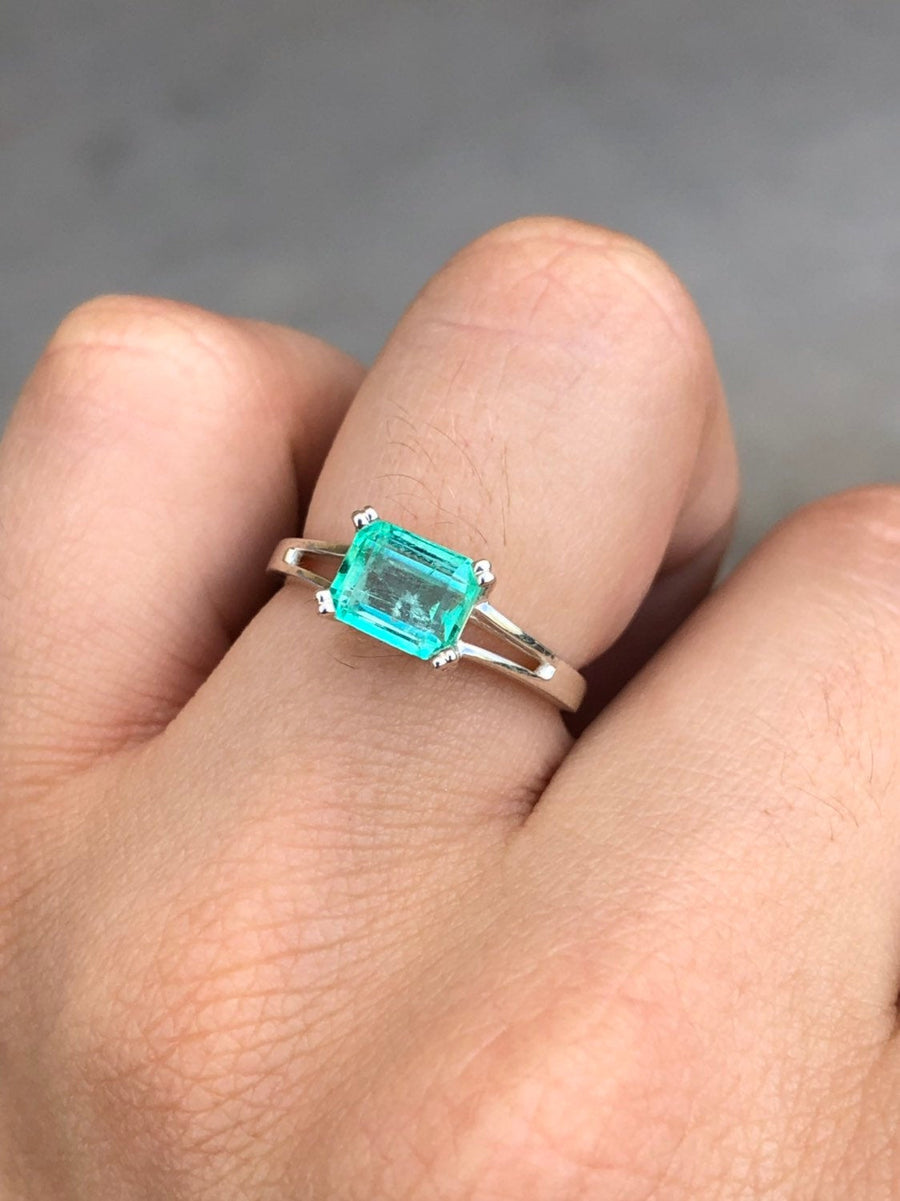 1.25-carat Colombian Emerald Solitaire Silver Engagement Ring, Emerald Engagement Ring, Emerald Cut Emerald Silver Ring, Emerald Silver Ring