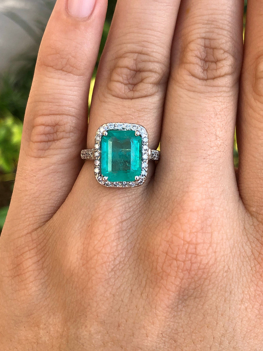 4.78tcw Emerald & Diamond Halo Engagement Ring, Emerald Halo Ring 18K, 18K Emerald Ring, Emerald 25th Anniversary Gift, Emerald Anniversary
