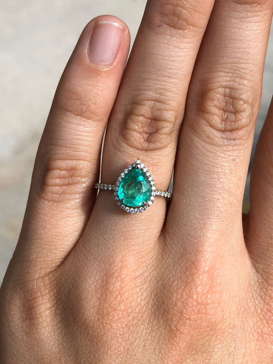 1.96tcw Pear Emerald & Diamond Halo Engagement Ring 14K