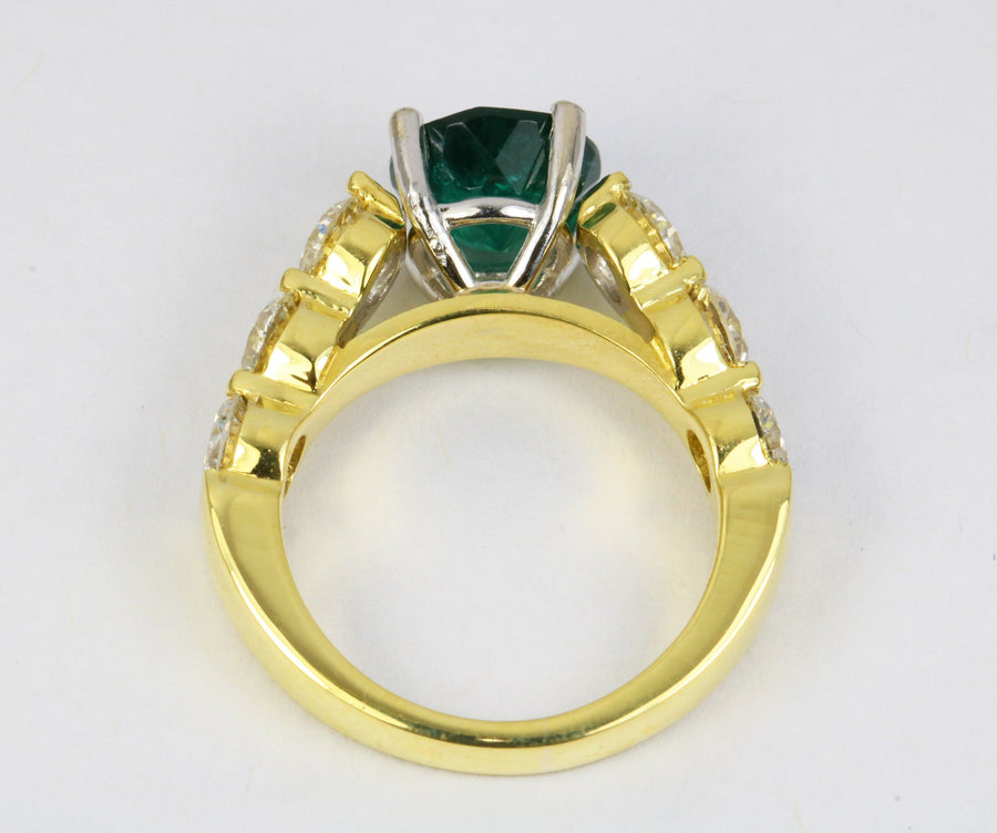 4.40tcw 18K Round Emerald & Diamond Accent Statement Ring, 18K Emerald Ring, Round Emerald Gold Ring, Emerald Gold Ring, Emerald Anniversary
