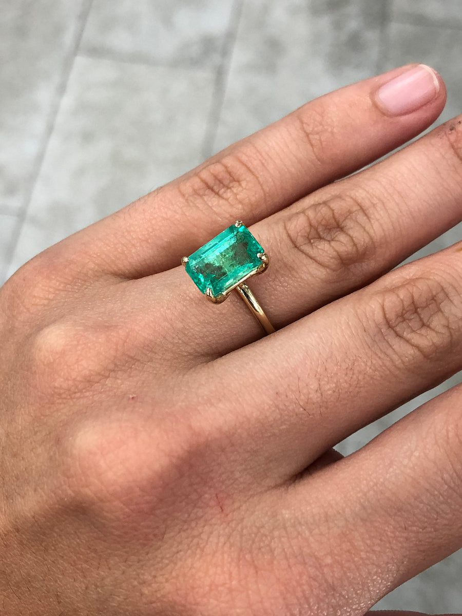 3.76cts Colombian Emerald Solitaire 14K Gold Engagement Ring, Emerald Engagement Ring, Emerald Cut Emerald Gold Ring, Emerald Gold Ring