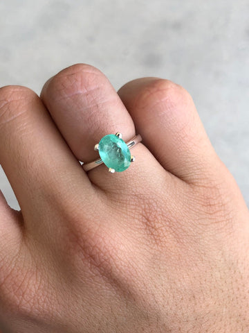 2.53cts Colombian Emerald Solitaire Silver Ring, Emerald Ring, Oval Emerald Silver Ring, Emerald Silver Ring, Emerald 925 Ring