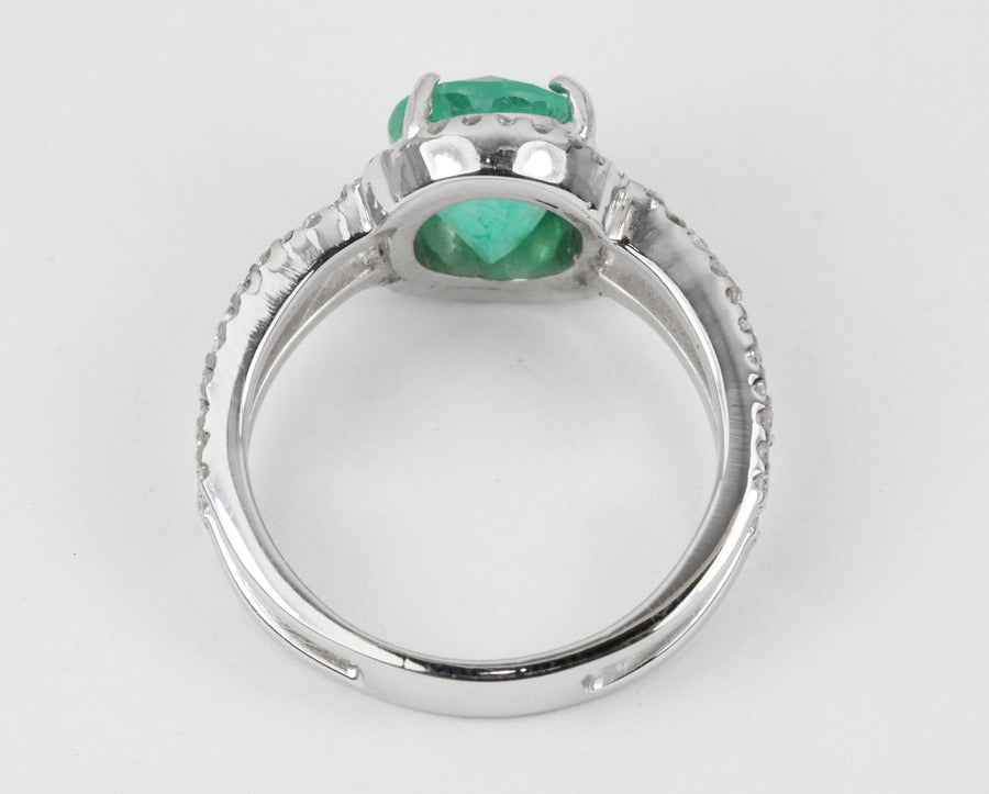 2.28tcw Natural Oval Emerald & Diamond Split Shank Engagement Ring 18K