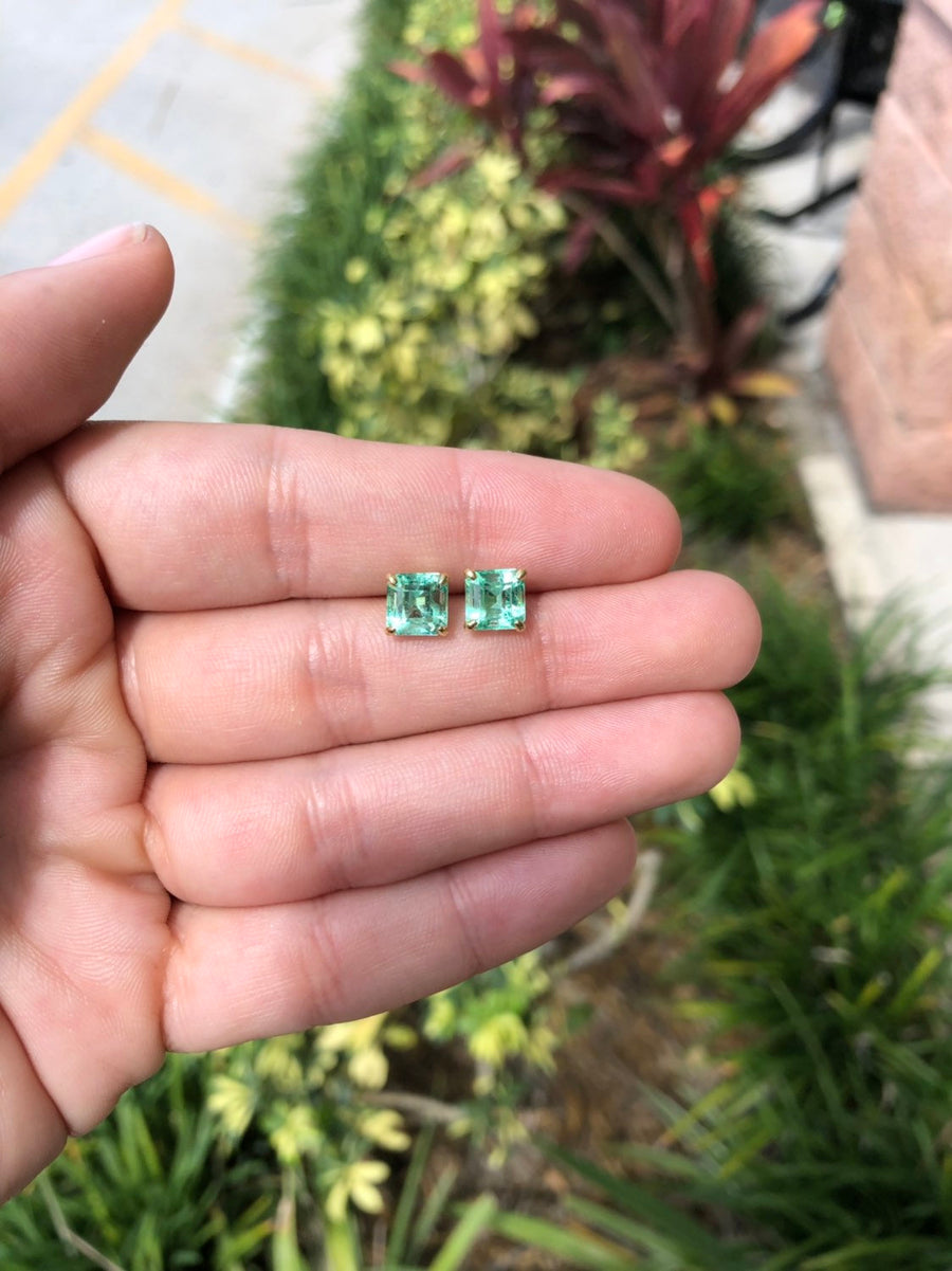 3.20cts 18K Emerald Earrings, Colombian Emerald Stud Earrings,Emerald Cut Emerald 18K Gold Studs,May Birthstone,Natural Emerald Cut Studs