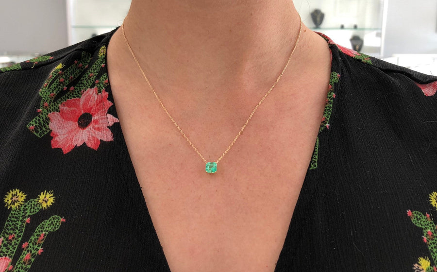 1.32 Carat Solitaire Colombian Emerald-Emerald Cut Necklace 14K