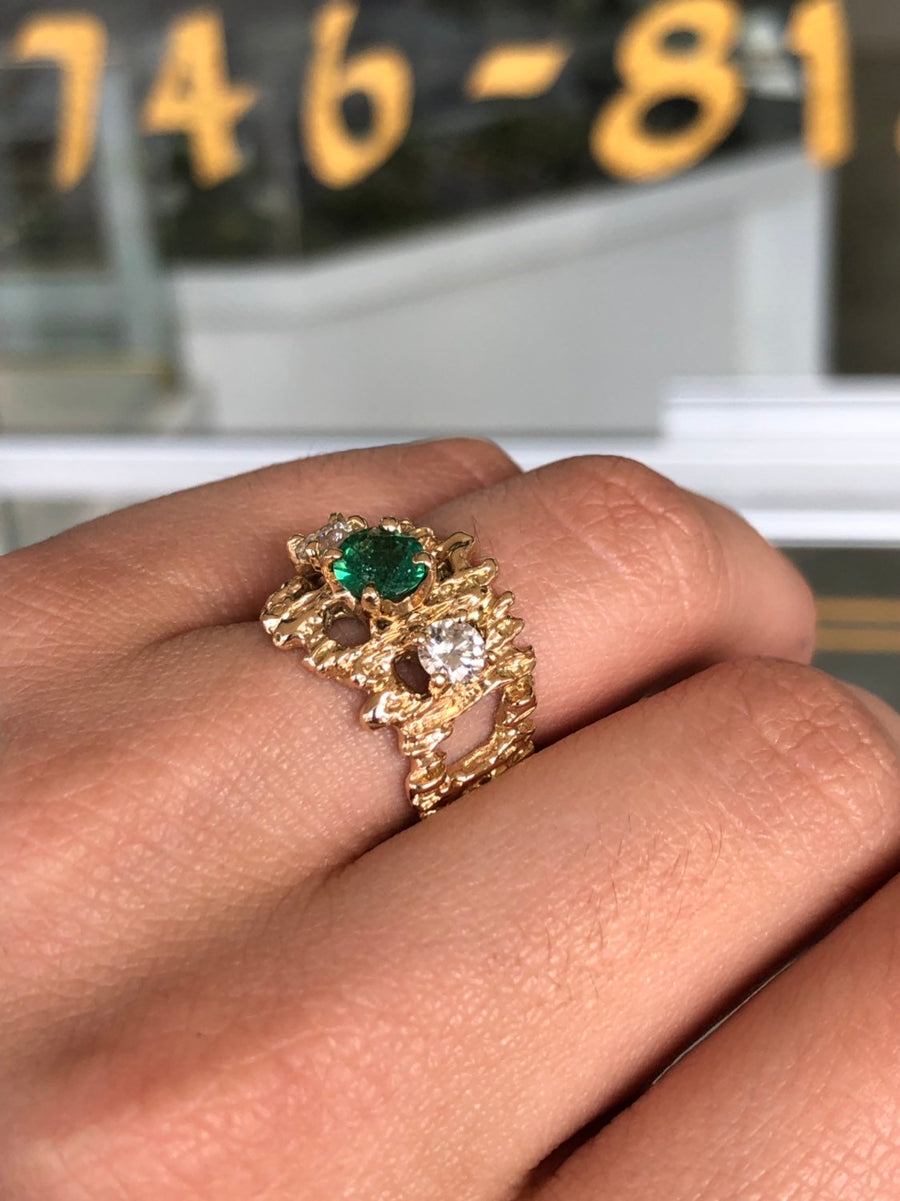1.54tcw Emerald & Diamonds Nugget Ring, Emerald Gold Nugget Ring, Vintage Emerald Ring, Nugget Emerald Ring, Emerald Ring, Solid Gold 14K
