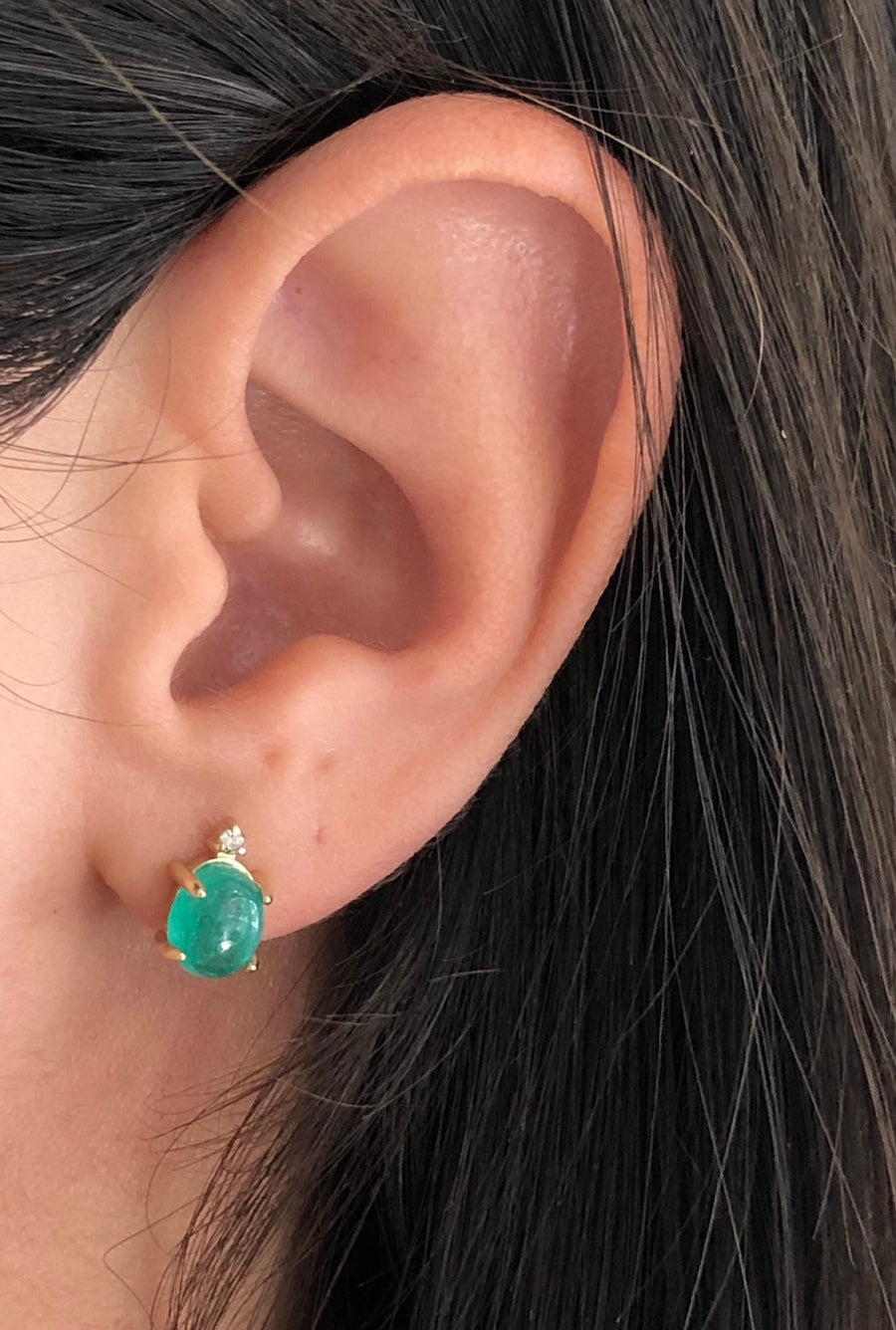 3.10tcw Cabochon Emerald & Diamond Stud Earrings 14K