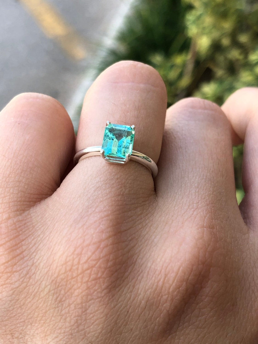 1.67 Carat Natural Emerald Solitaire Engagement Ring Sterling Silver 925