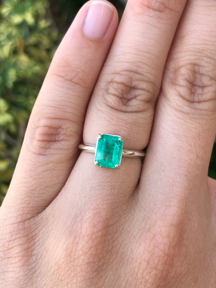 1.84cts Colombian Emerald Solitaire Silver Engagement Ring