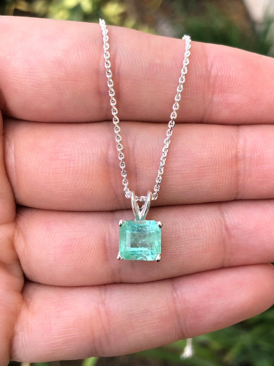 2.10 Carat Asscher Colombian Emerald Necklace Sterling Silver 925
