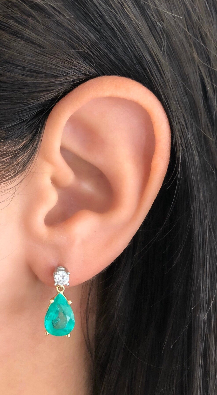4.90tcw Tear Drop Emerald & Diamond Dangle Screw Back Earrings 18K/Plat