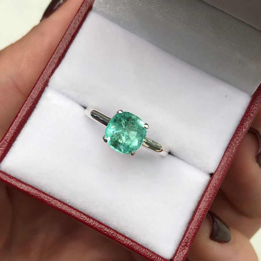 2.54 Carat Solitaire Colombian Emerald Cut Silver Engagement Ring Silver SS 925
