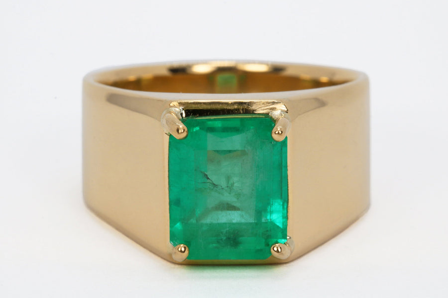 4.84 Carats Emerald Cut Colombian Emerald Mens Solitaire Pinky Ring Gold 18K