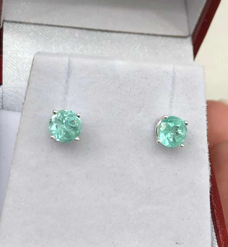 1.50 Carats Natural Colombian Emerald Brilliant Cut Stud Earrings 4.5mm Silver