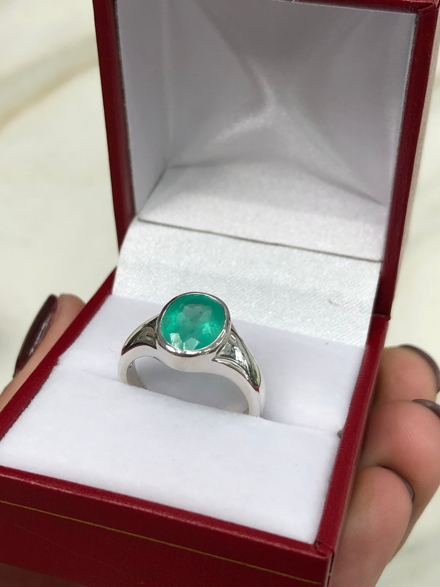 1.95 Carat Colombian Emerald Men's Ring Sterling Silver 925