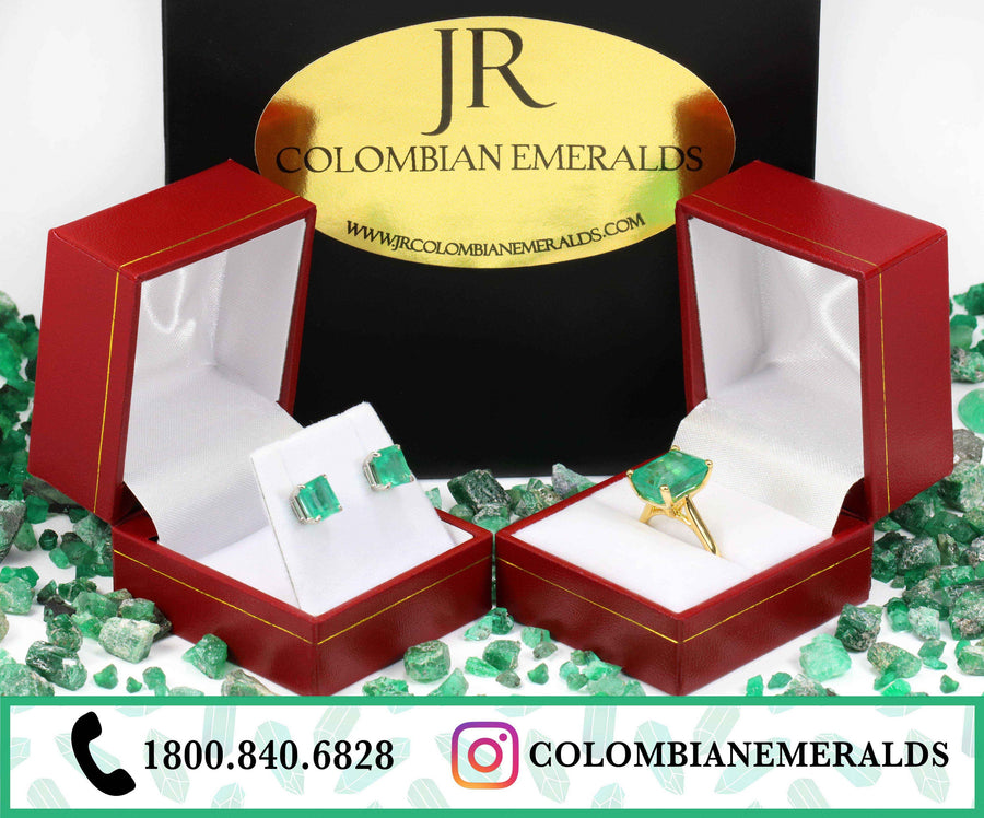 3.0 Carats Colombian Emerald Asscher Cut Prong Stud Earrings Yellow Gold 14K