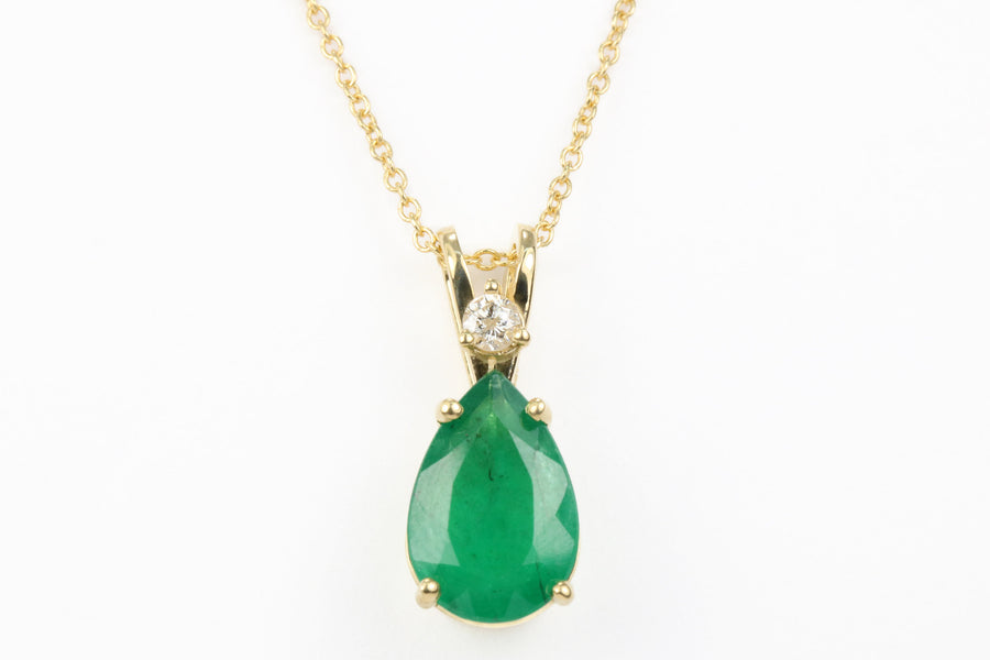 2.40tcw Emerald Necklace, Natural Emerald Diamond Pendant, Pear Emerald 14K Gold Pendant, Natural Pear Emerald Necklace, Emerald Diamond