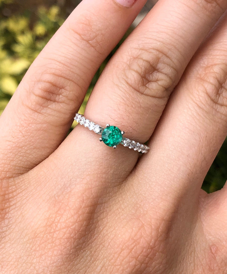 1.15tcw 14K Natural Emerald & Diamond Accent Engagement Ring, Emerald Engagement Ring, Round Emerald Gold Ring, Emerald Gold Ring