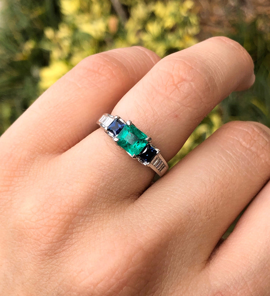 2.24tcw Platinum Emerald, Blue Sapphire, & Diamond Ring, Emerald Engagement Ring, Platinum Emerald Gold Ring, Emerald Platinum Ring, Emerald